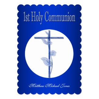 Primeros muchachos azules de la comunión santa invitación 12,7 x 17,8 cm