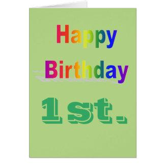 Primeros saludos felices del cumpleaños tarjeta de felicitación