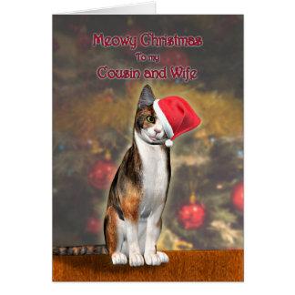 Primo y esposa, un gato en un gorra del navidad tarjeta de felicitación