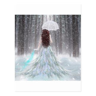 Princesa abstracta de la nieve del invierno del postal