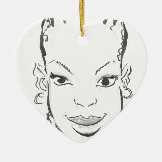 Princesa africana adorno de cerámica en forma de corazón