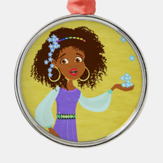 princesa africana ornamento adorno redondo plateado