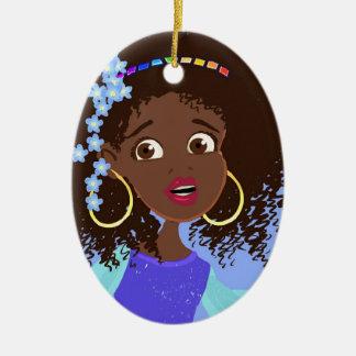 Princesa africana Portrait Ornament Adorno Ovalado De Cerámica