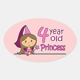 Princesa Age 4 Pegatina Ovaladas Personalizadas