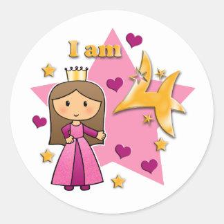 Princesa Age 4 Etiqueta Redonda