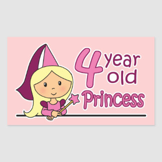 Princesa Age 4 Pegatina Rectangular