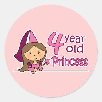 Princesa Age 4 Pegatina Redonda