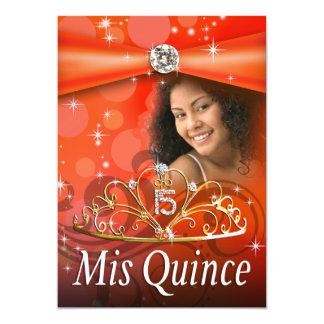 Princesa anaranjada Tiara Photo de Quinceanera 15 Invitación 12,7 X 17,8 Cm