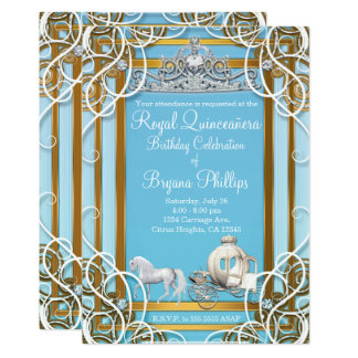 Princesa azul Crown y carro Quinceañera del oro Invitación 12,7 X 17,8 Cm