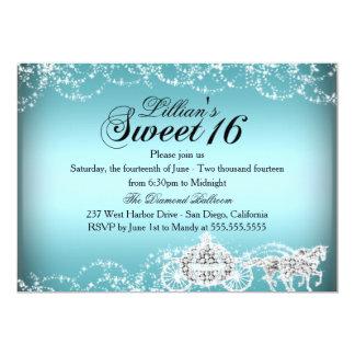 Princesa azul Sweet 16 del caballo y del carro Invitación 12,7 X 17,8 Cm