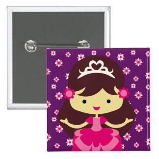 Princesa Birthday Button Chapa Cuadrada