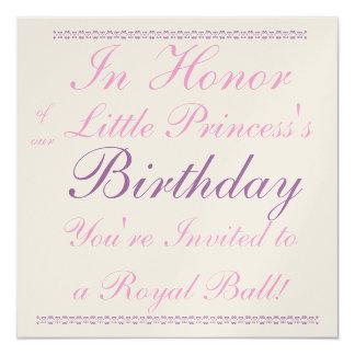 Princesa Birthday Invitation Invitación 13,3 Cm X 13,3cm