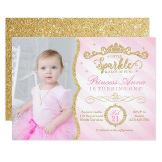 Princesa Birthday Invitation Pink y oro Invitación 12,7 X 17,8 Cm