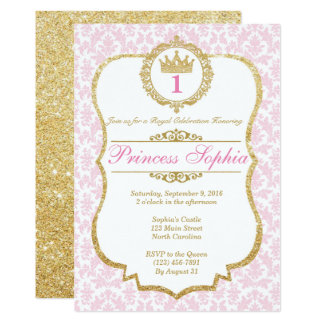 Princesa Birthday Invitation Pink y oro Invitación 12,7 X 17,8 Cm