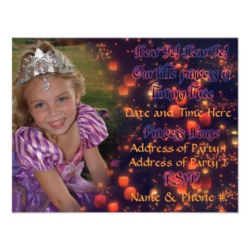 Princesa Birthday Invites de 3 años con la parte p Anuncios Personalizados