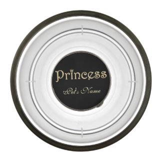 Princesa Black y oro del mascota personalizados Cuenco Para Mascotas