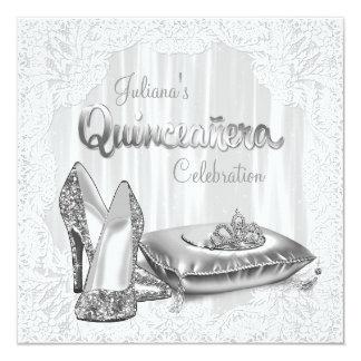 Princesa blanca Quinceanera Invitación