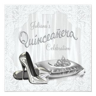 Princesa blanca Quinceanera Comunicado Personalizado