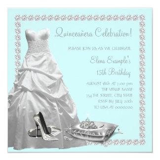 Princesa bonita Teal Blue Quinceanera Invitación 13,3 Cm X 13,3cm
