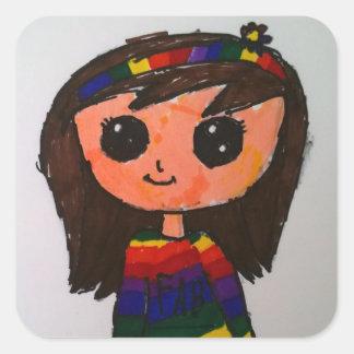 Princesa brillante Toytastic Stickers Pegatina Cuadrada