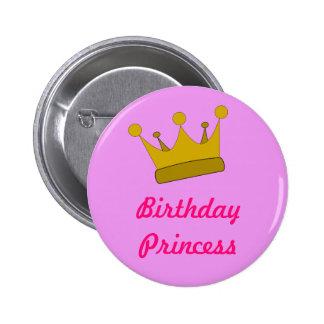 Princesa Button del cumpleaños Chapa Redonda De 5 Cm