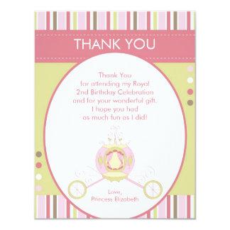 Princesa Carriage Thank You Card (plana) Invitación 10,8 X 13,9 Cm