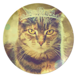 Princesa Cat Plate del Tabby del calicó por el Plato De Cena