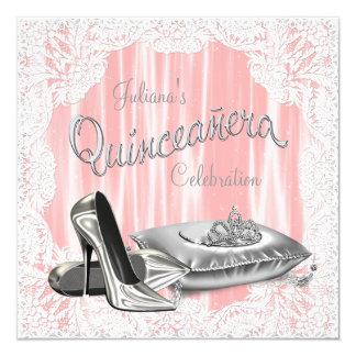 Princesa Coral y Quinceanera gris Invitación 13,3 Cm X 13,3cm