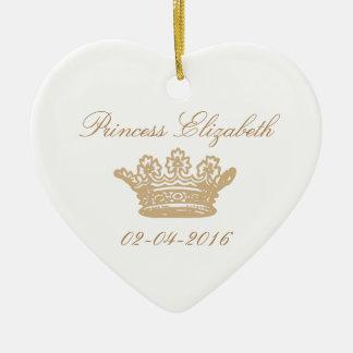 Princesa Crown Heart Ornament Adorno Navideño De Cerámica En Forma De Corazón