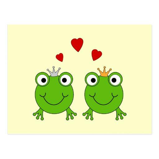 Princesa de la rana y príncipe de la rana, con los postal