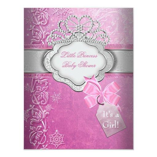 Princesa de la tiara del rosa del chica de la invitación