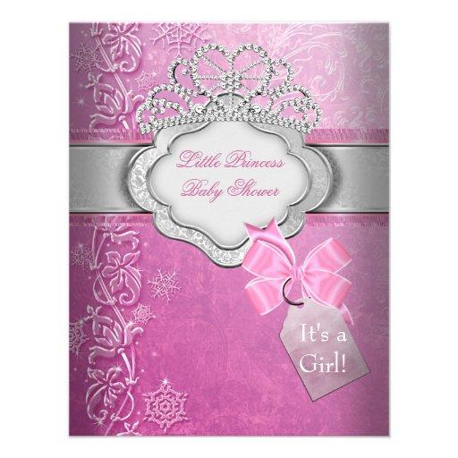 Princesa de la tiara del rosa del chica de la prin invitación