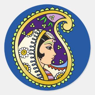 Princesa de Mendhi Pegatina Redonda