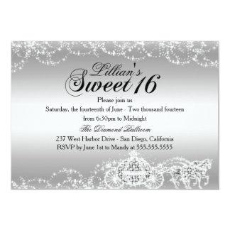 Princesa de plata Sweet 16 del caballo y del carro Invitación 12,7 X 17,8 Cm