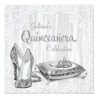 Princesa de plata y blanca Quinceanera Anuncio Personalizado