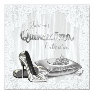 Princesa de plata y blanca Quinceanera Invitaciones Personales
