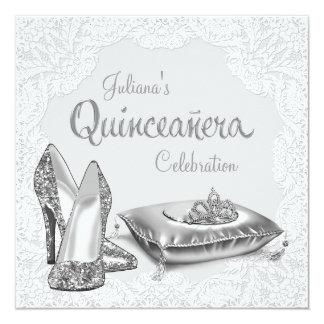 Princesa de plata y blanca Quinceanera Comunicado Personalizado