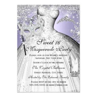 Princesa de plata y púrpura Masquerade Sweet 16 Invitación 12,7 X 17,8 Cm