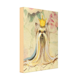 Princesa de Yorkie en corona del oro Impresiones De Lienzo