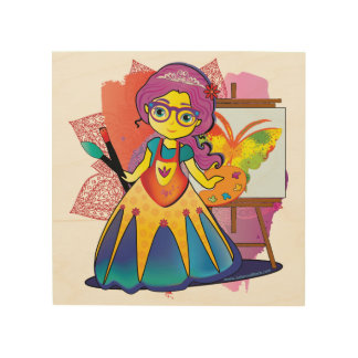 Princesa del arte en la impresión de madera