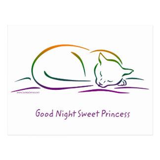 Princesa dulce de las buenas noches (gato) tarjeta postal
