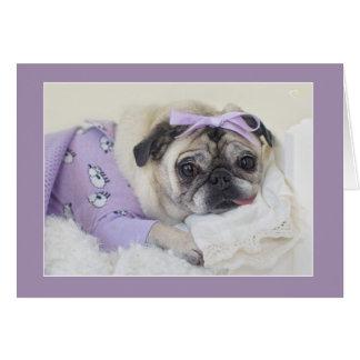 Princesa durmiente Pug Card por los barros Tarjeta De Felicitación