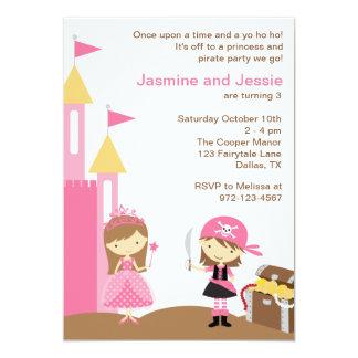 Princesa e invitaciones rosadas del pirata invitación 12,7 x 17,8 cm