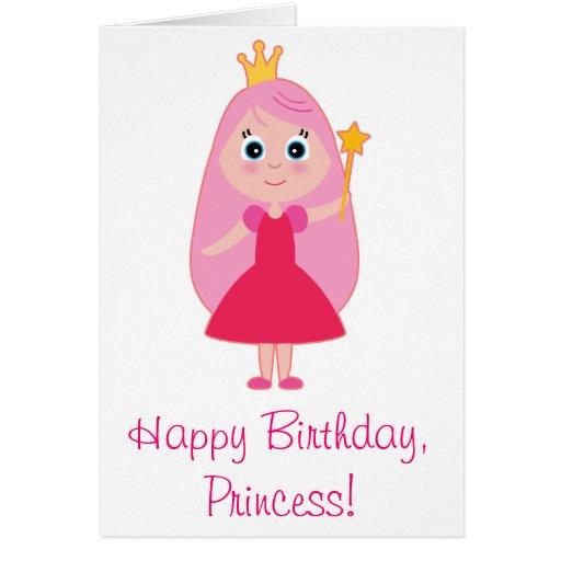 Princesa Feliz Cumpleaños Del Dibujo Animado Tarjeta