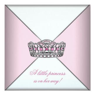 Princesa fiesta de bienvenida al bebé del rosa de invitación 13,3 cm x 13,3cm