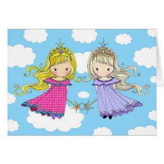 Princesa gemela de la hada de la tarjeta de cumple