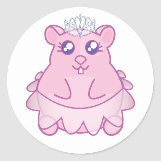 Princesa Hamster Stickers Pegatina Redonda