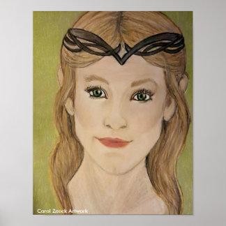Princesa hermosa del duende por el villancico póster