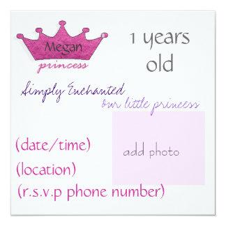 Princesa Invitación 13,3 Cm X 13,3cm