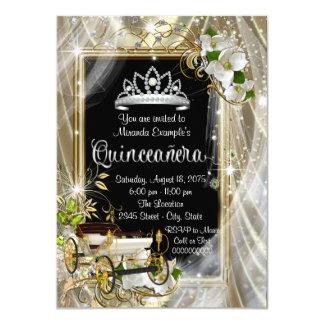 Princesa mágica Black y oro Quinceañera Invitación 11,4 X 15,8 Cm